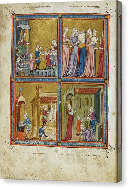 Passover Canvas Print - Giving Of Matzot by British Library