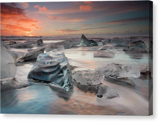 Diamonds Canvas Print - Glacial Lagoon Beach by Massimo Baroni