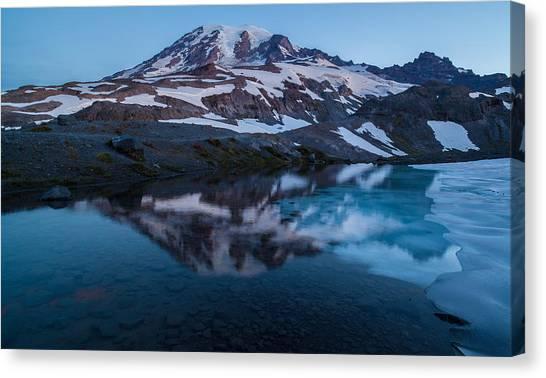 Washington Nationals Canvas Print - Glacial Rainier Morning Reflection by Mike Reid