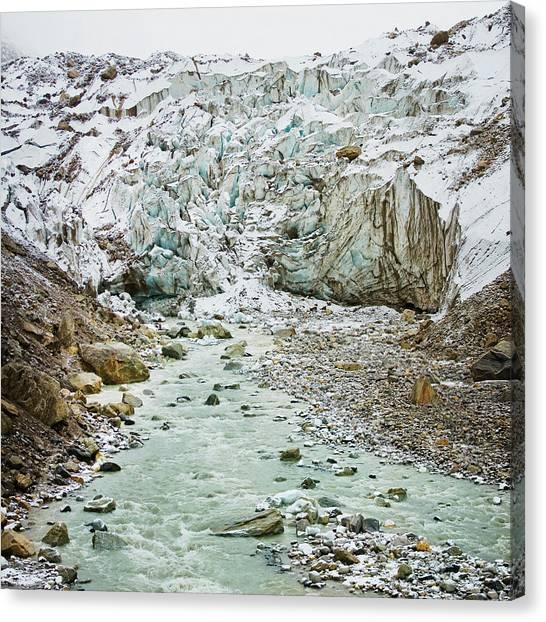 Glacier And River In Mountain Canvas Print