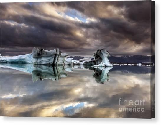 Glacier In Water Canvas Print
