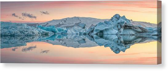 Lake Sunsets Canvas Print - Glacier Lagoon by Raymond Hoffmann