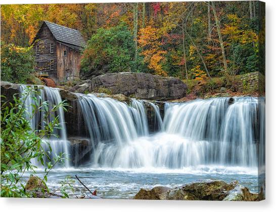 Glade Creek Grist Mill And Waterfalls Canvas Print