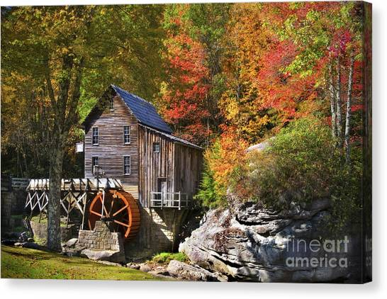Canvas Print featuring the photograph Glade Creek Mill by T Lowry Wilson