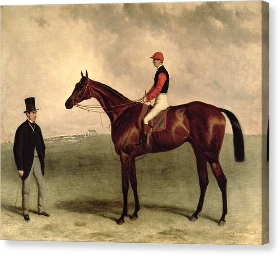 Race Horses Canvas Print - Gladiateur With Harry Grimshaw Up And His Owner Count Frederic De Lagrange by Harry Hall