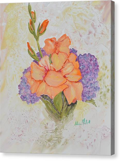 Gladioli And Hydrangea Canvas Print by Aileen McLeod