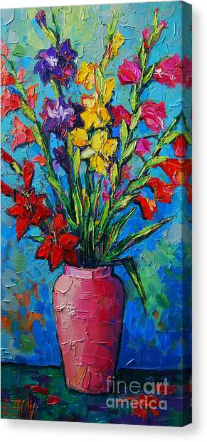 Gladioli In A Vase Canvas Print