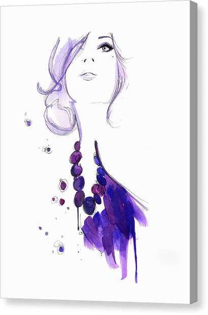 Glamorous Woman Wearing Purple Necklace Canvas Print