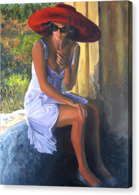 Glamour Of A Red Hat Canvas Print