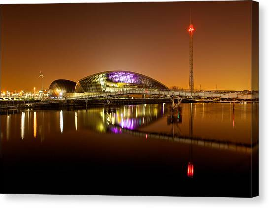 Glasgow Science Centre On A Tofee Coloured Sky Canvas Print