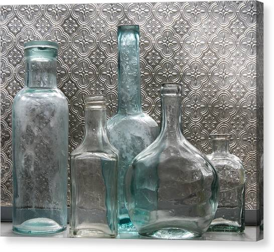 Canvas Print featuring the photograph Glass Bottles 1 by Jocelyn Friis