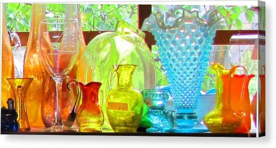 Glass In Sunlight Canvas Print by Jeanne Porter