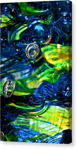 Seattle Seahawks Canvas Print - Glass Macro - Seahawks Blue And Green -13e4 by David Patterson