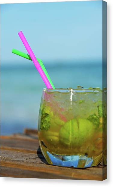 Glass Of Mojito Cocktail By Tropical Canvas Print