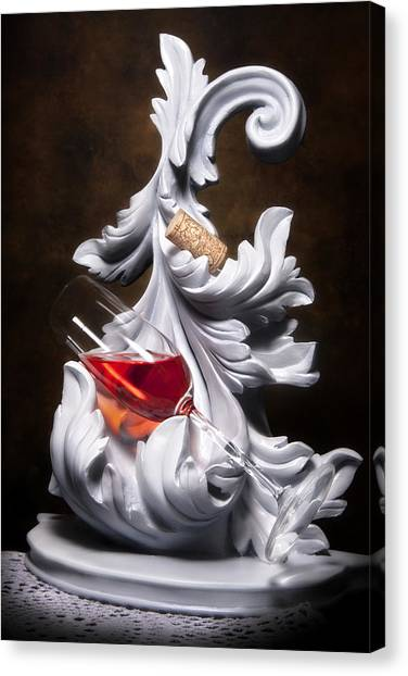 White Wine Canvas Print - Glass Of Wine With Cork Still Life by Tom Mc Nemar