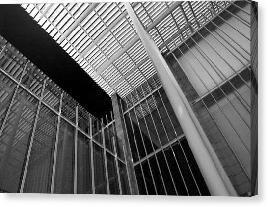 Glass Steel Architecture Lines Black White Canvas Print