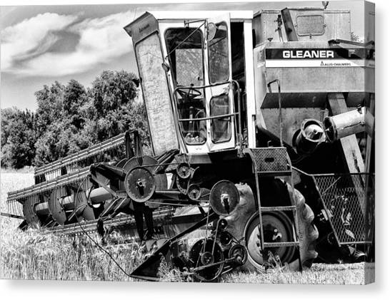 Gleaner F Combine In Black-and-white Canvas Print