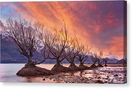Mountain Sunsets Canvas Print - Glenorchy On Fire by Yan Zhang