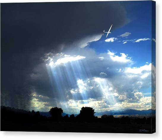 Glider Over Colorado Front Range Canvas Print by Ric Soulen