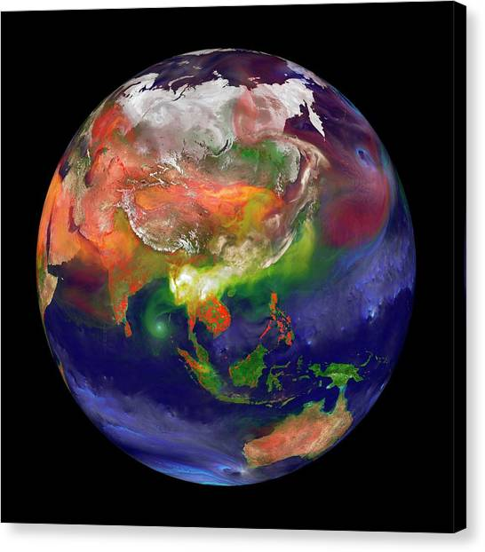 Fire Ball Canvas Print - Global Fires by William Putman/nasa Goddard Space Flight Center