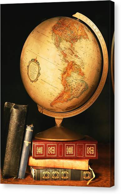 World Schooling Canvas Print - Globe And Books by Don Hammond
