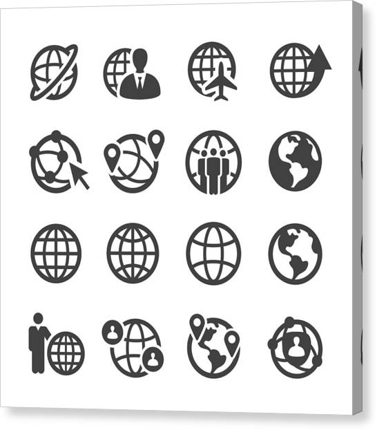 Globe And Communication Icons Set - Acme Series Canvas Print by -victor-