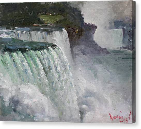 Niagara Falls Canvas Print - Gloomy Day At Niagara Falls by Ylli Haruni