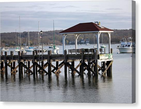 Gloomy Day Northport Dock Long Island New York Canvas Print