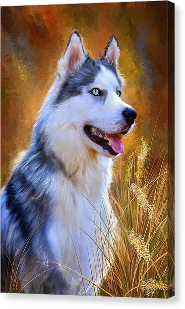 Huskies Canvas Print - Glorious Pride - Siberian Husky Portrait by Lourry Legarde