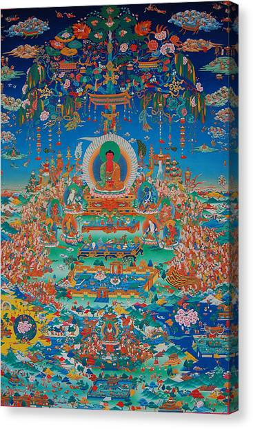 The Joy Of Life Canvas Print - Glorious Sukhavati Realm Of Buddha Amitabha by Art School