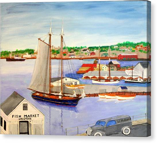 Gloucester Fish Mkt. And Schooners 1939 Canvas Print