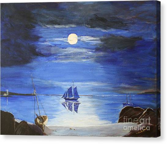Gloucester Harbor By Moonlight Canvas Print
