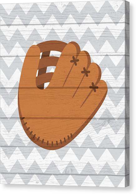 Softball Canvas Print - Glove by Tamara Robinson