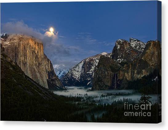 Foggy Forests Canvas Print - Glow - Moonrise Over Yosemite National Park. by Jamie Pham