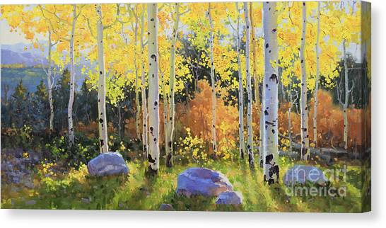 Kim Canvas Print - Glowing Aspen  by Gary Kim