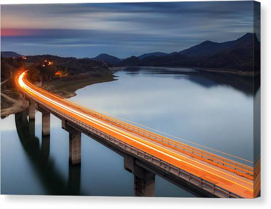 Traffic Canvas Print - Glowing Bridge by Evgeni Dinev