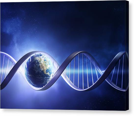 Biology Canvas Print - Glowing Earth Dna Strand by Johan Swanepoel