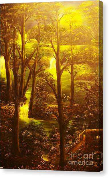 Glowing Evening Falls-original Sold- Buy Giclee Print Nr 28 Of Limited Edition Of 40 Prints   Canvas Print