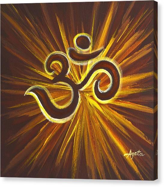 Glowing Om Symbol Canvas Print