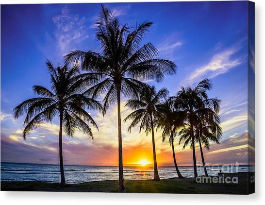 Glowing Orange Hawaiian Sunset Canvas Print