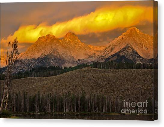 Sublime Canvas Print - Glowing Sawtooth Mountains by Robert Bales