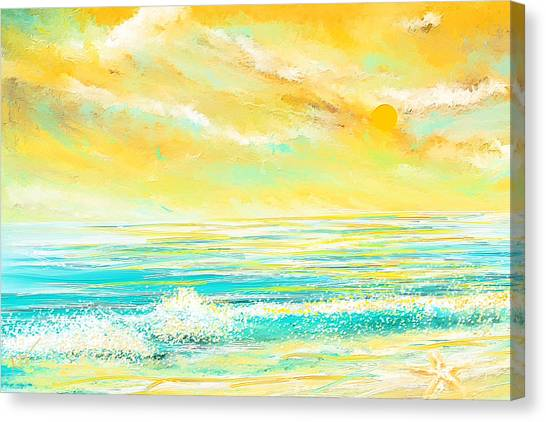 Abstract Seascape Canvas Print - Glowing Waves - Seascapes Sunset Abstract by Lourry Legarde