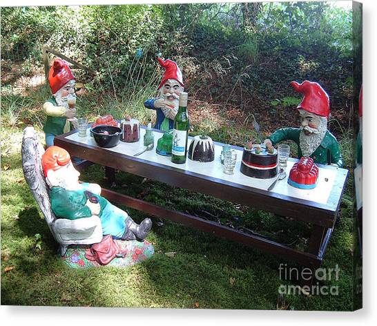 Gnome Cooking Canvas Print