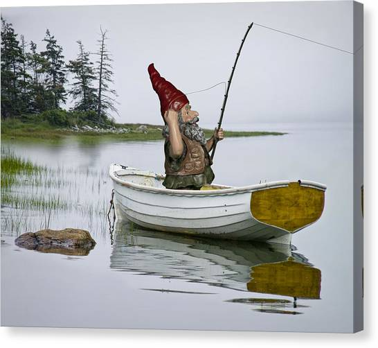 Gnome Fisherman In A White Maine Boat On A Foggy Morning Canvas Print