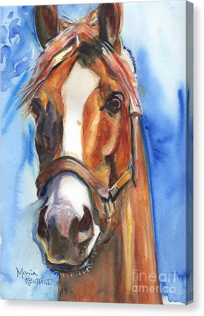 Ears Canvas Print - Horse Painting Of California Chrome Go Chrome by Maria's Watercolor