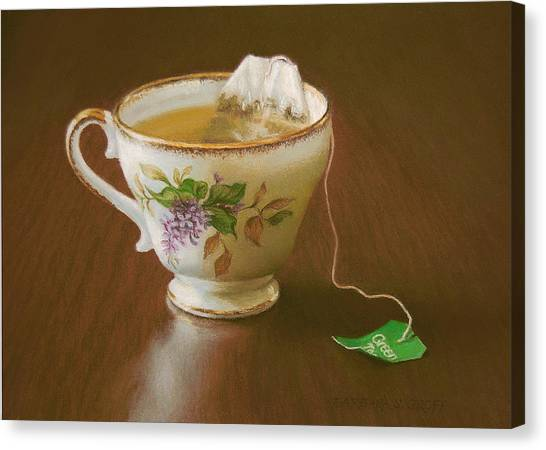 Tea Canvas Print - Go Green Tea by Barbara Groff