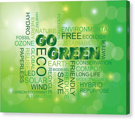 Go Green Word Cloud Green Background Canvas Print