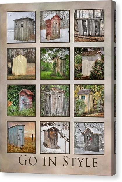 Blackbirds Canvas Print - Go In Style - Outhouses by Lori Deiter