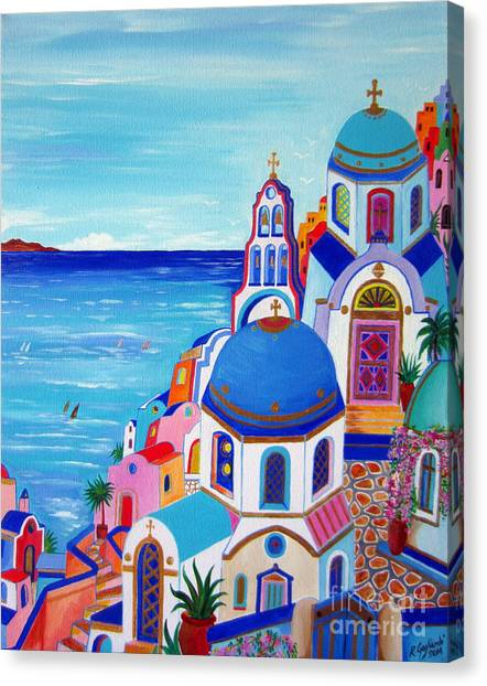 go to Santorini now Canvas Print