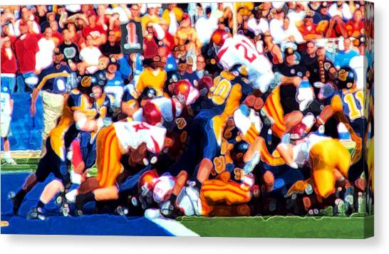 University Of Southern California Usc Canvas Print - Goal Line Stand by Ron Regalado